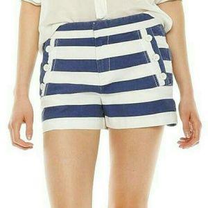JOE FRESH sailor shorts blue white striped khaki